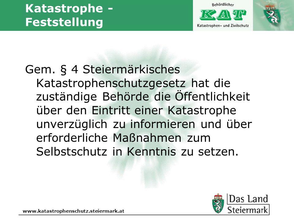 Autor www.katastrophenschutz.steiermark.at Katastrophe - Feststellung Gem. § 4 Steiermärkisches Katastrophenschutzgesetz hat die zuständige Behörde di