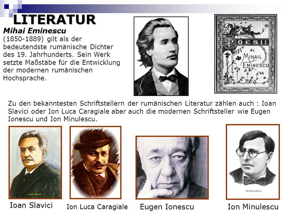 Mihai Eminescu Mihai Eminescu (1850-1889) gilt als der bedeutendste rumänische Dichter des 19. Jahrhunderts. Sein Werk setzte Maßstäbe für die Entwick
