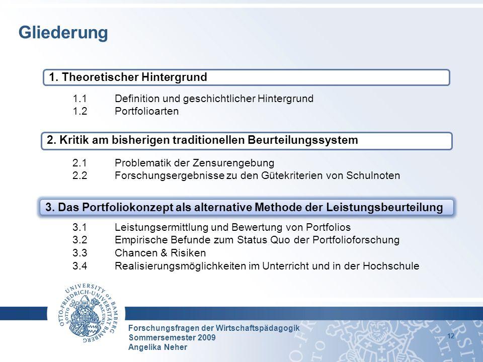 Forschungsfragen der Wirtschaftspädagogik Sommersemester 2009 Angelika Neher 12 1.1 Definition und geschichtlicher Hintergrund 1.2 Portfolioarten 2.1P