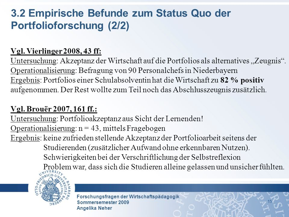 Forschungsfragen der Wirtschaftspädagogik Sommersemester 2009 Angelika Neher 15 3.2 Empirische Befunde zum Status Quo der Portfolioforschung (2/2) Vgl
