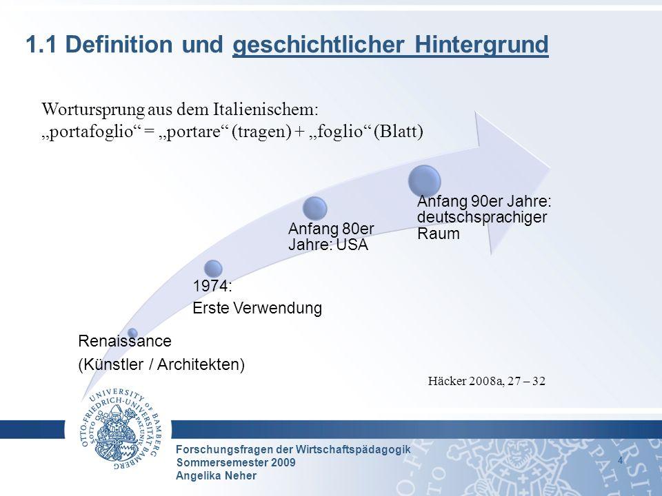 Forschungsfragen der Wirtschaftspädagogik Sommersemester 2009 Angelika Neher 15 3.2 Empirische Befunde zum Status Quo der Portfolioforschung (2/2) Vgl.