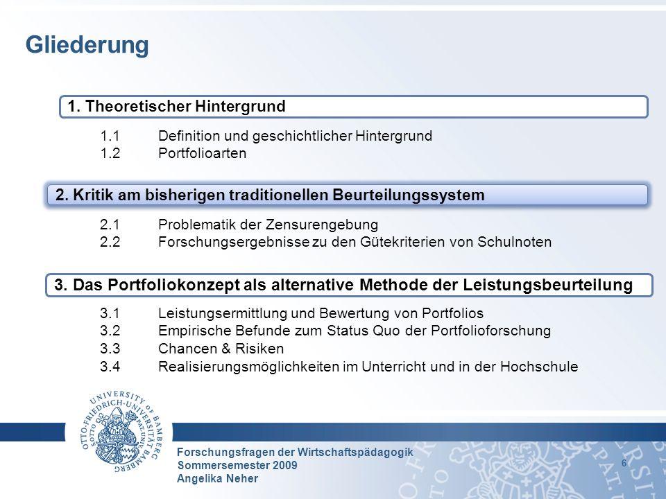 Forschungsfragen der Wirtschaftspädagogik Sommersemester 2009 Angelika Neher 6 1.1 Definition und geschichtlicher Hintergrund 1.2 Portfolioarten 2.1Pr