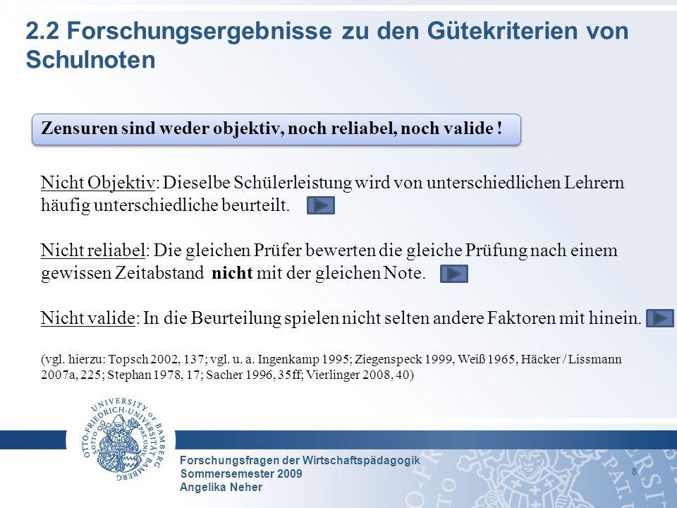 Forschungsfragen der Wirtschaftspädagogik Sommersemester 2009 Angelika Neher 8 2.2 Forschungsergebnisse zu den Gütekriterien von Schulnoten Zensuren s