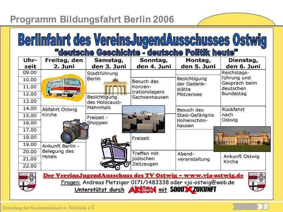 Gründung der Studenteninitiative: Weitblick e.V. Programm Bildungsfahrt Berlin 2006