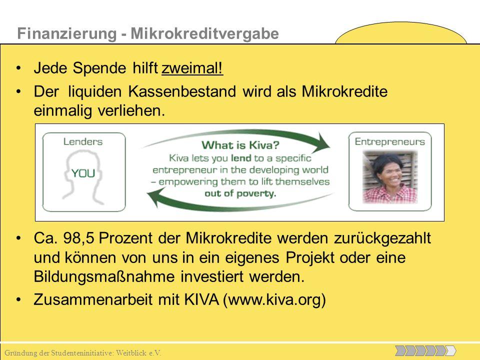 Gründung der Studenteninitiative: Weitblick e.V. Jede Spende hilft zweimal.