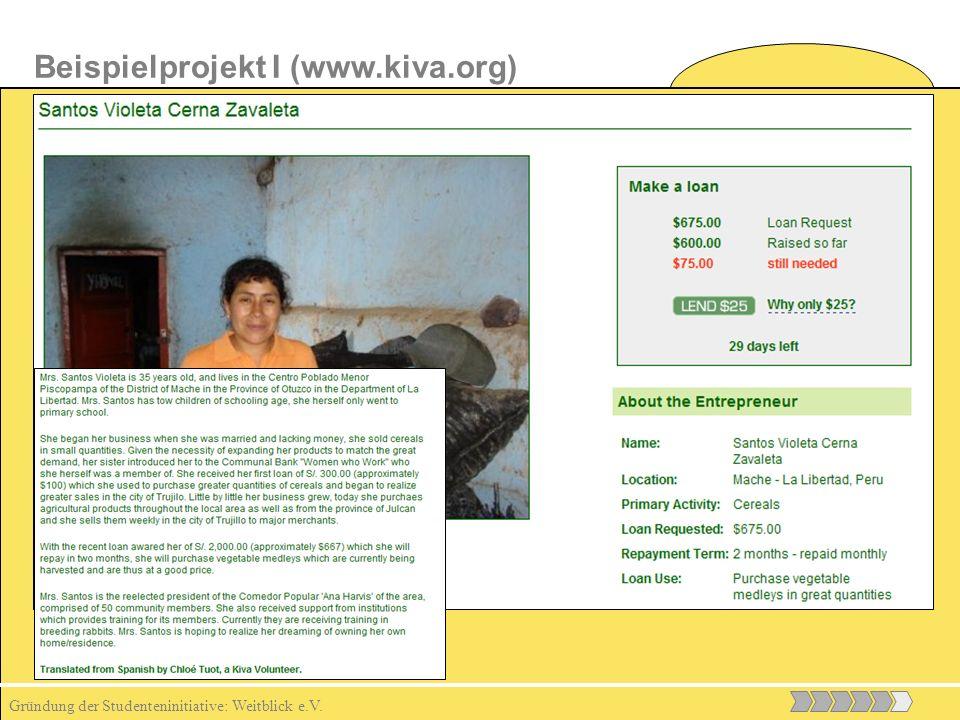 Gründung der Studenteninitiative: Weitblick e.V. Beispielprojekt I (www.kiva.org)
