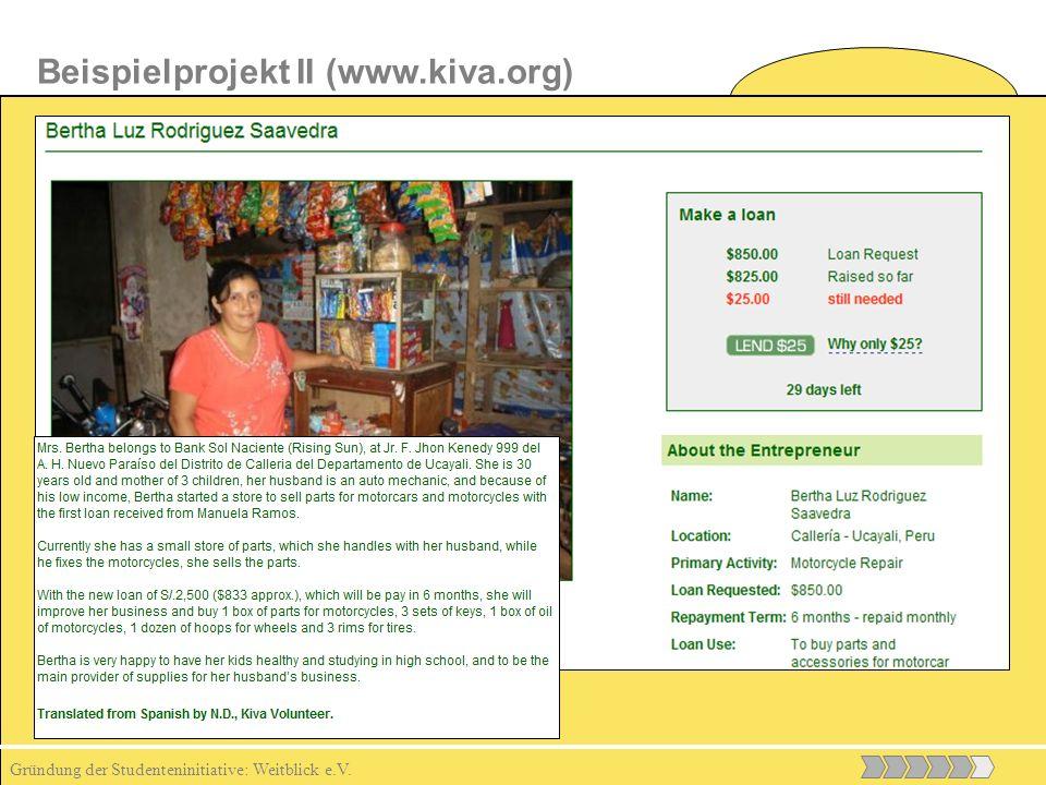 Gründung der Studenteninitiative: Weitblick e.V. Beispielprojekt II (www.kiva.org)