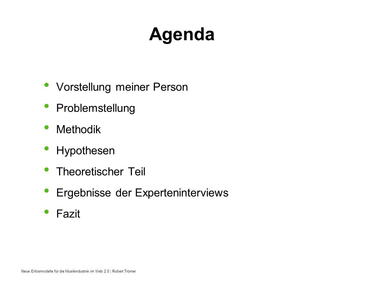 Neue Erlösmodelle für die Musikindustrie im Web 2.0 | Robert Trömer Agenda Vorstellung meiner Person Problemstellung Methodik Hypothesen Theoretischer