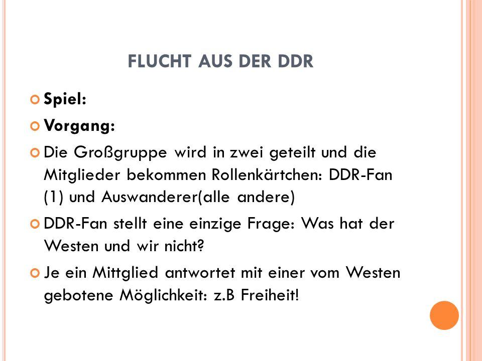 FLUCHT AUS DER DDR Spiel: Vorgang: Die Großgruppe wird in zwei geteilt und die Mitglieder bekommen Rollenkärtchen: DDR-Fan (1) und Auswanderer(alle an