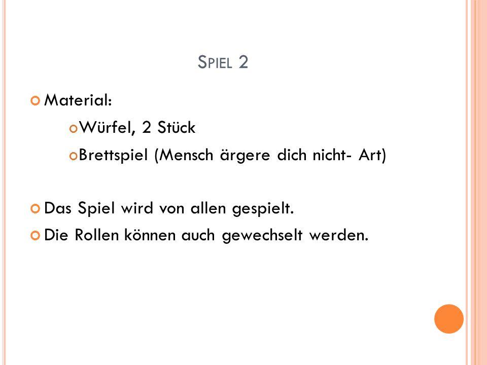 S PIEL 2 Material: Würfel, 2 Stück Brettspiel (Mensch ärgere dich nicht- Art) Das Spiel wird von allen gespielt. Die Rollen können auch gewechselt wer