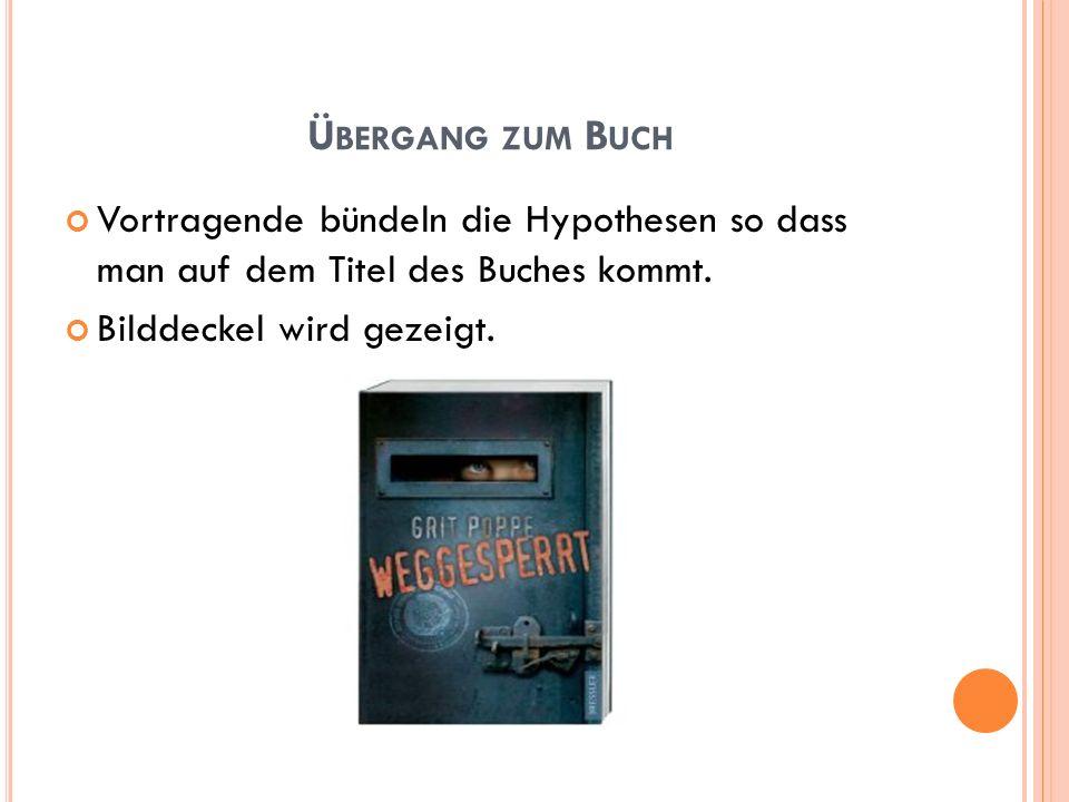 Ü BERGANG ZUM B UCH Vortragende bündeln die Hypothesen so dass man auf dem Titel des Buches kommt. Bilddeckel wird gezeigt.