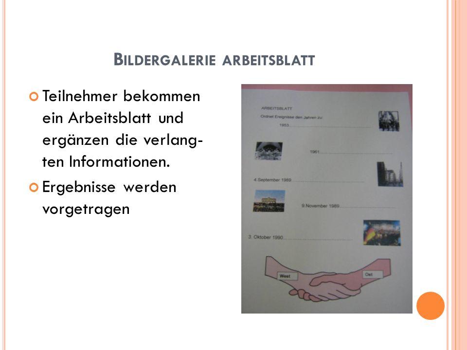 B ILDERGALERIE ARBEITSBLATT Teilnehmer bekommen ein Arbeitsblatt und ergänzen die verlang- ten Informationen. Ergebnisse werden vorgetragen