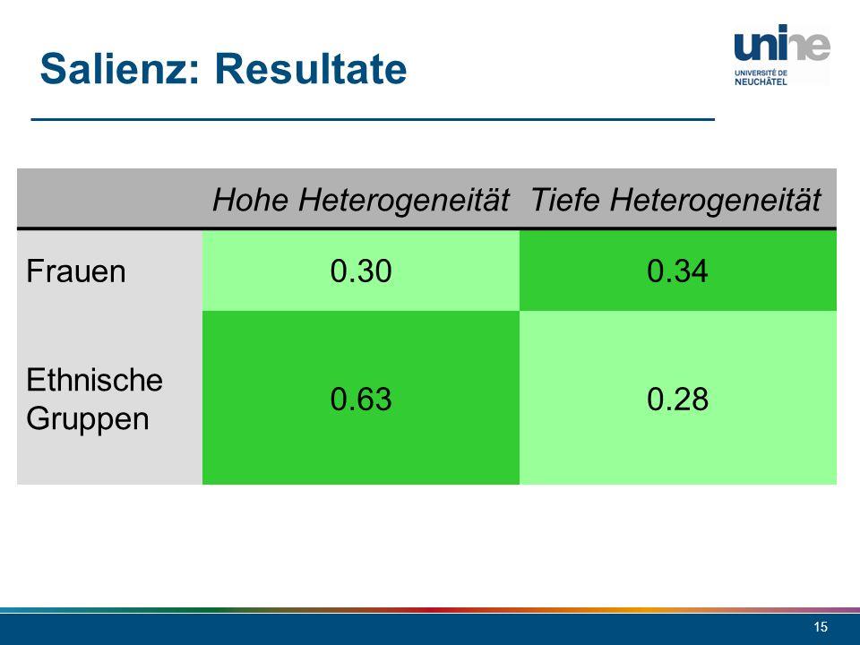 15 Salienz: Resultate Hohe HeterogeneitätTiefe Heterogeneität Frauen0.300.34 Ethnische Gruppen 0.630.28