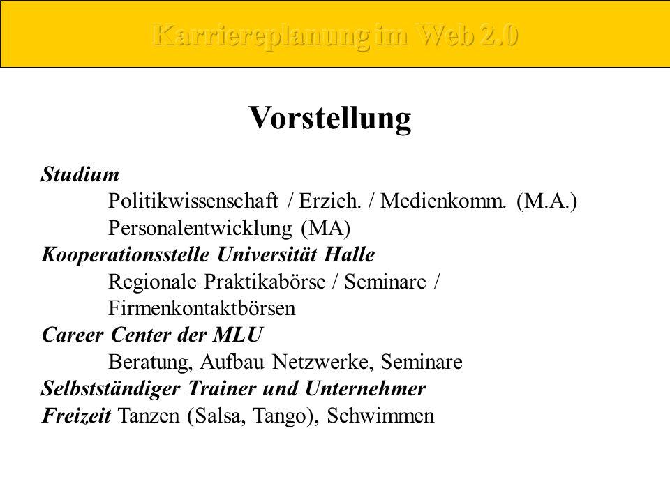 Vorstellung Studium Politikwissenschaft / Erzieh. / Medienkomm. (M.A.) Personalentwicklung (MA) Kooperationsstelle Universität Halle Regionale Praktik