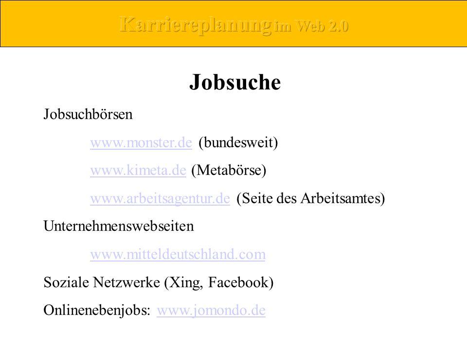 Jobsuchbörsen www.monster.dewww.monster.de (bundesweit) www.kimeta.dewww.kimeta.de (Metabörse) www.arbeitsagentur.dewww.arbeitsagentur.de (Seite des A