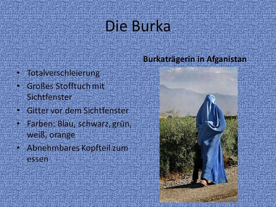 Die Burka Totalverschleierung Großes Stofftuch mit Sichtfenster Gitter vor dem Sichtfenster Farben: Blau, schwarz, grün, weiß, orange Abnehmbares Kopf