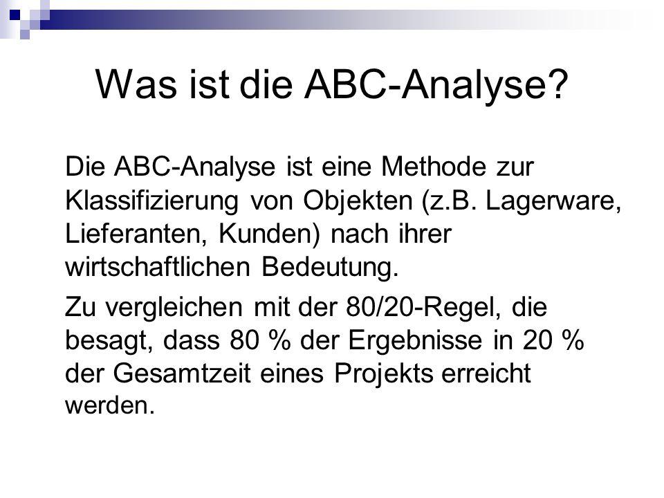 Was ist die ABC-Analyse? Die ABC-Analyse ist eine Methode zur Klassifizierung von Objekten (z.B. Lagerware, Lieferanten, Kunden) nach ihrer wirtschaft