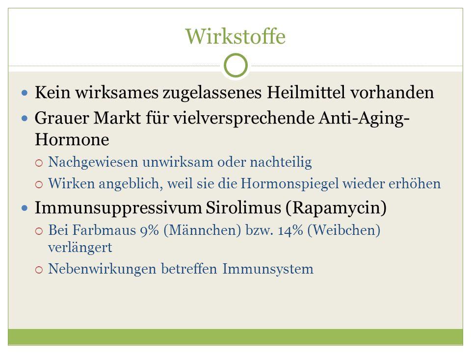 Wirkstoffe Kein wirksames zugelassenes Heilmittel vorhanden Grauer Markt für vielversprechende Anti-Aging- Hormone Nachgewiesen unwirksam oder nachtei