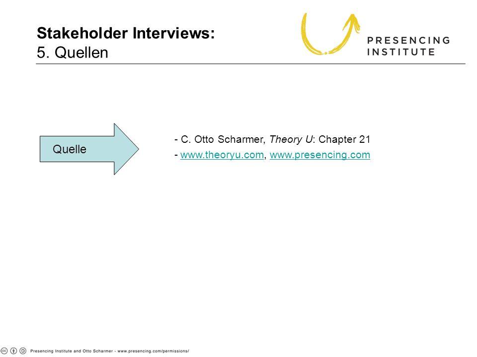 5. Sources Quelle - C. Otto Scharmer, Theory U: Chapter 21 -www.theoryu.com, www.presencing.comwww.theoryu.comwww.presencing.com Stakeholder Interview