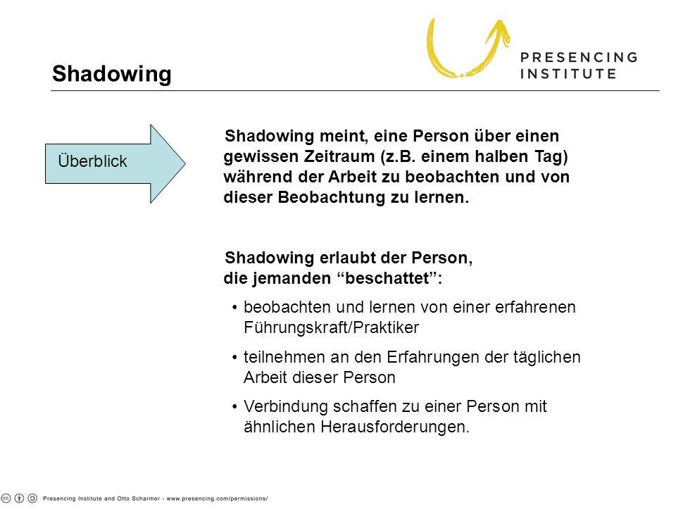Shadowing Überblick Shadowing meint, eine Person über einen gewissen Zeitraum (z.B. einem halben Tag) während der Arbeit zu beobachten und von dieser