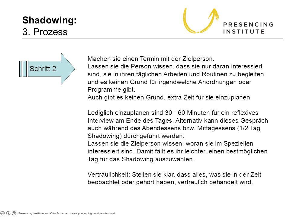 Shadowing: 3. Prozess Schritt 2 Machen sie einen Termin mit der Zielperson. Lassen sie die Person wissen, dass sie nur daran interessiert sind, sie in