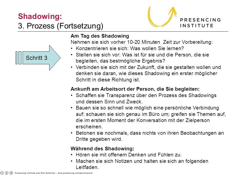 Schritt 3 Shadowing: 3. Prozess (Fortsetzung) Am Tag des Shadowing Nehmen sie sich vorher 10-20 Minuten Zeit zur Vorbereitung: Konzentrieren sie sich:
