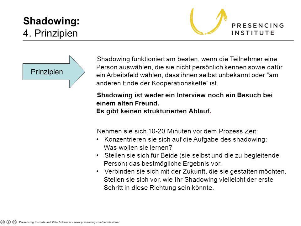 Shadowing: 4. Prinzipien Prinzipien Shadowing funktioniert am besten, wenn die Teilnehmer eine Person auswählen, die sie nicht persönlich kennen sowie