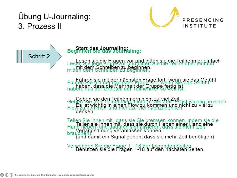 Übung U-Journaling: 3. Prozess II Beginnen Sie das Journaling: Lesen Sie jede Frage vor und bitten Sie die Teilnehmer einfach mitten dem Schreiben zu