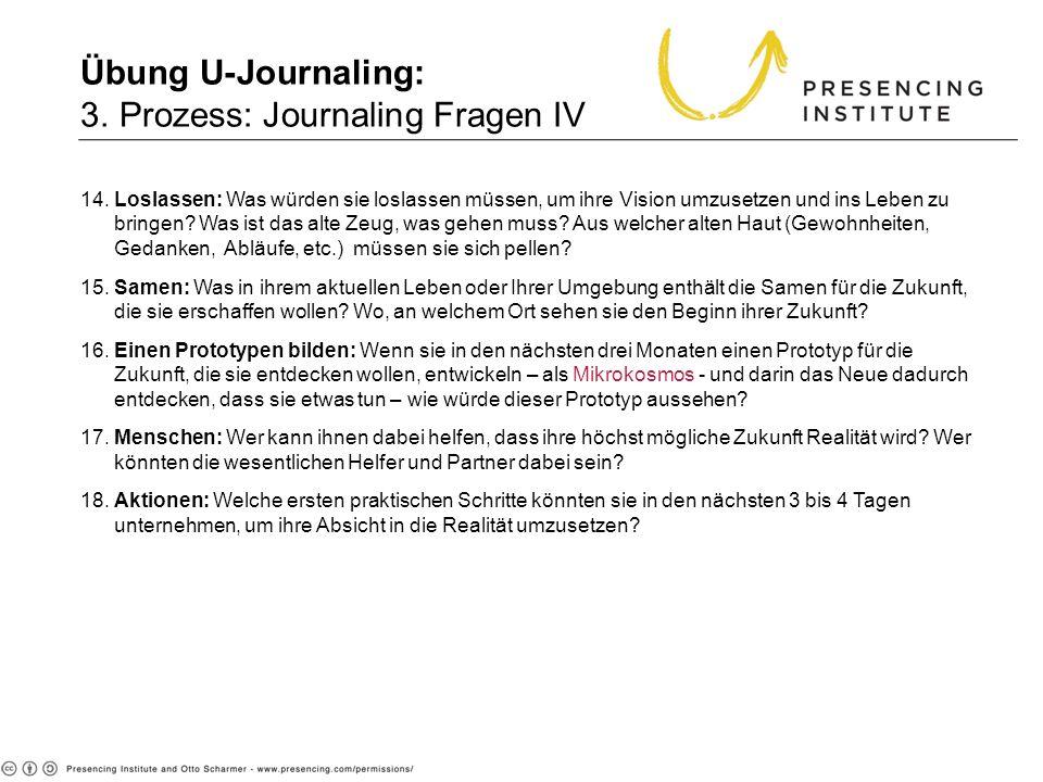Übung U-Journaling: 3. Prozess: Journaling Fragen IV 14. Loslassen: Was würden sie loslassen müssen, um ihre Vision umzusetzen und ins Leben zu bringe