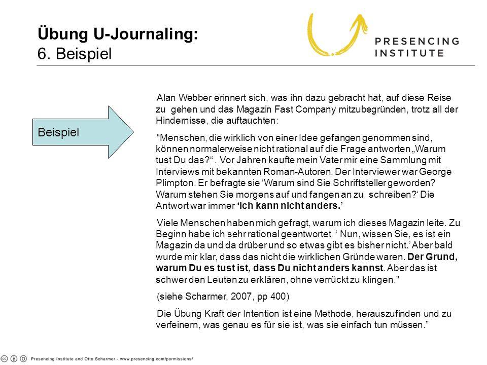 Übung U-Journaling: 6. Beispiel Beispiel Alan Webber erinnert sich, was ihn dazu gebracht hat, auf diese Reise zu gehen und das Magazin Fast Company m