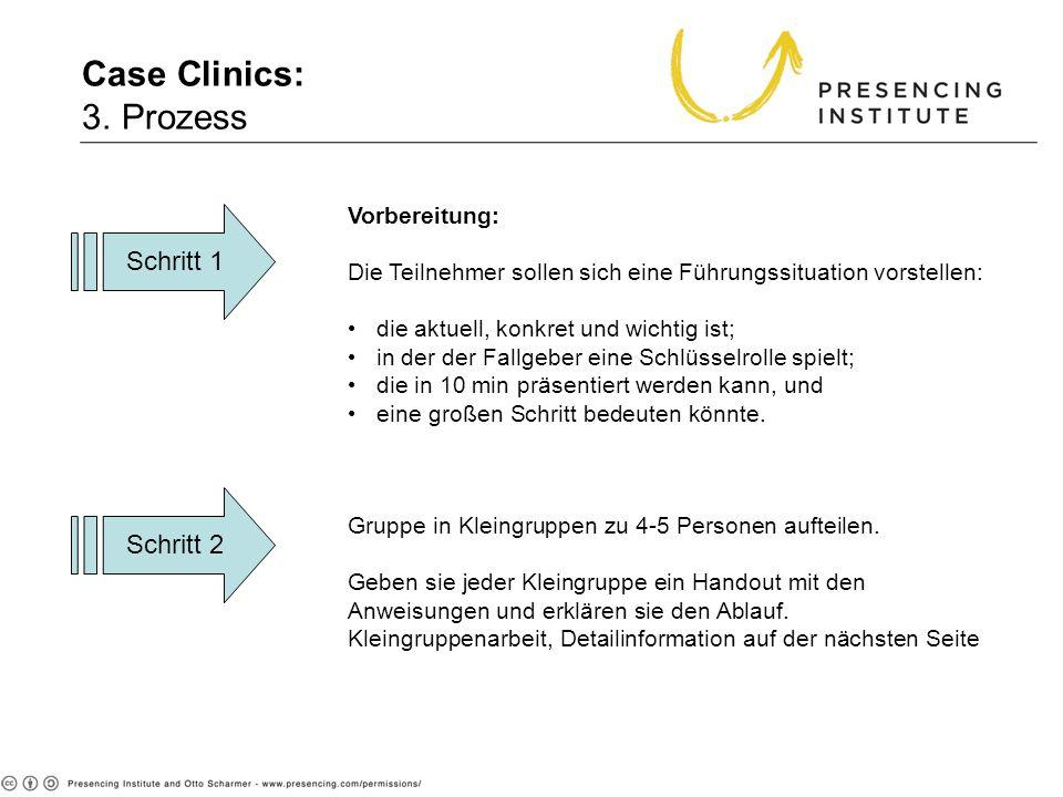 Case Clinics: 3. Prozess Schritt 1 Schritt 2 Vorbereitung: Die Teilnehmer sollen sich eine Führungssituation vorstellen: die aktuell, konkret und wich