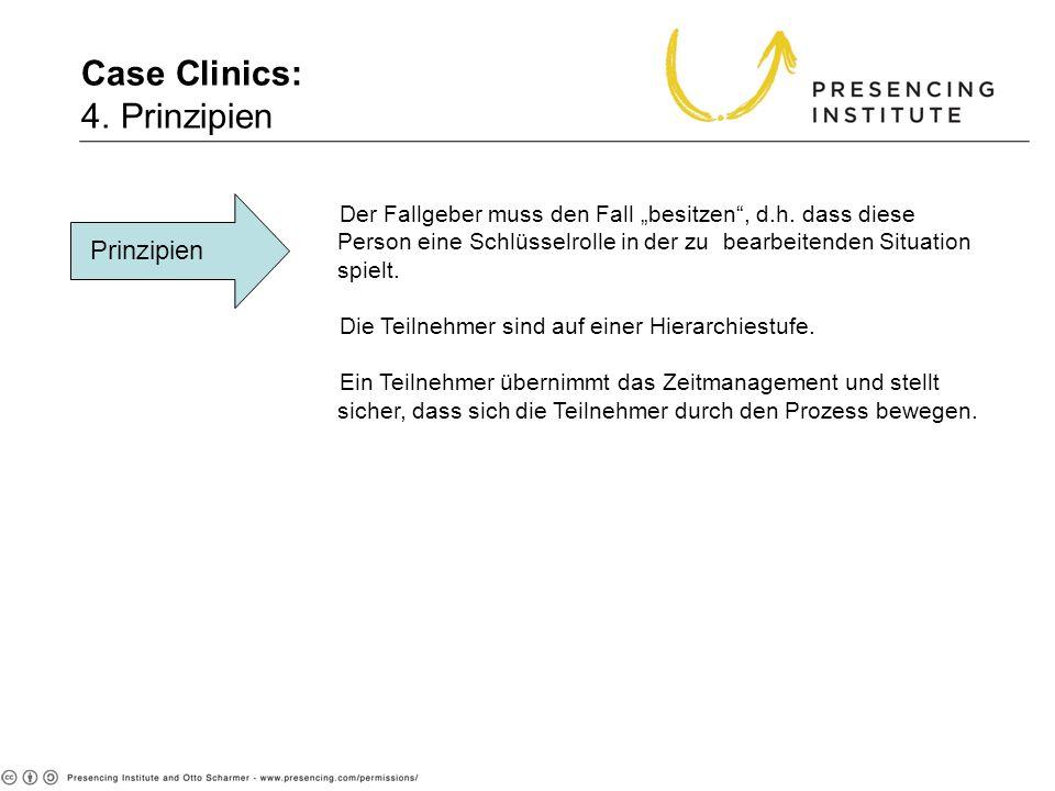 Case Clinics: 4. Prinzipien Prinzipien Der Fallgeber muss den Fall besitzen, d.h. dass diese Person eine Schlüsselrolle in der zu bearbeitenden Situat