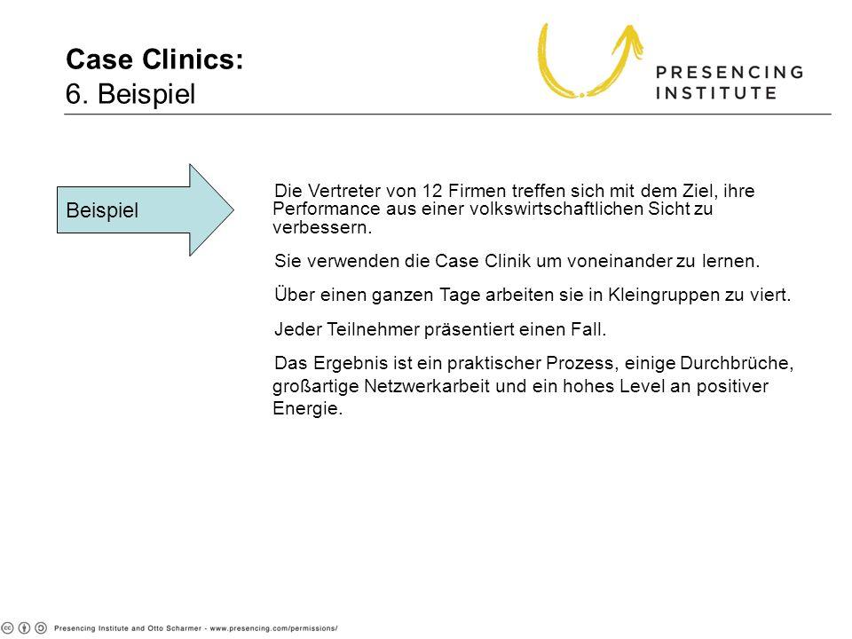 Case Clinics: 6. Beispiel Beispiel Die Vertreter von 12 Firmen treffen sich mit dem Ziel, ihre Performance aus einer volkswirtschaftlichen Sicht zu ve
