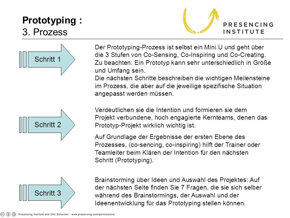 Prototyping : 3. Prozess Der Prototyping-Prozess ist selbst ein Mini U und geht über die 3 Stufen von Co-Sensing, Co-Inspiring und Co-Creating. Zu bea