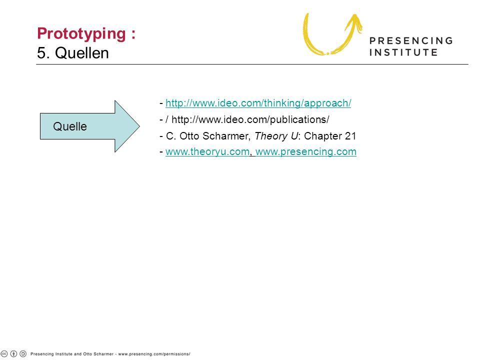 Prototyping : 5. Quellen Quelle -http://www.ideo.com/thinking/approach/http://www.ideo.com/thinking/approach/ -/ http://www.ideo.com/publications/ - C