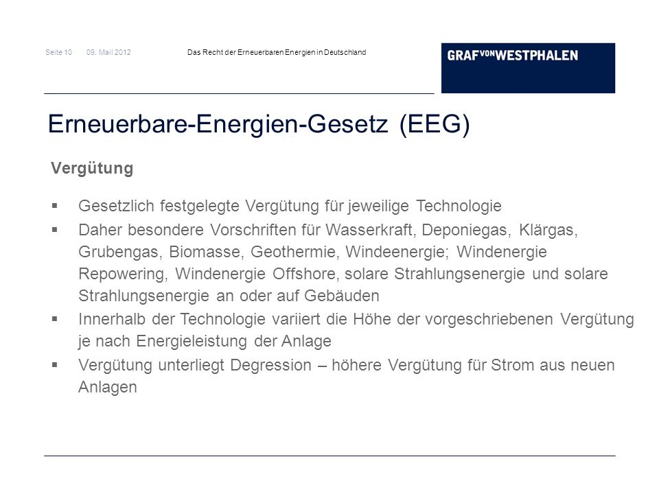Seite 10 09. Mail 2012 Das Recht der Erneuerbaren Energien in Deutschland Erneuerbare-Energien-Gesetz (EEG) Vergütung Gesetzlich festgelegte Vergütung