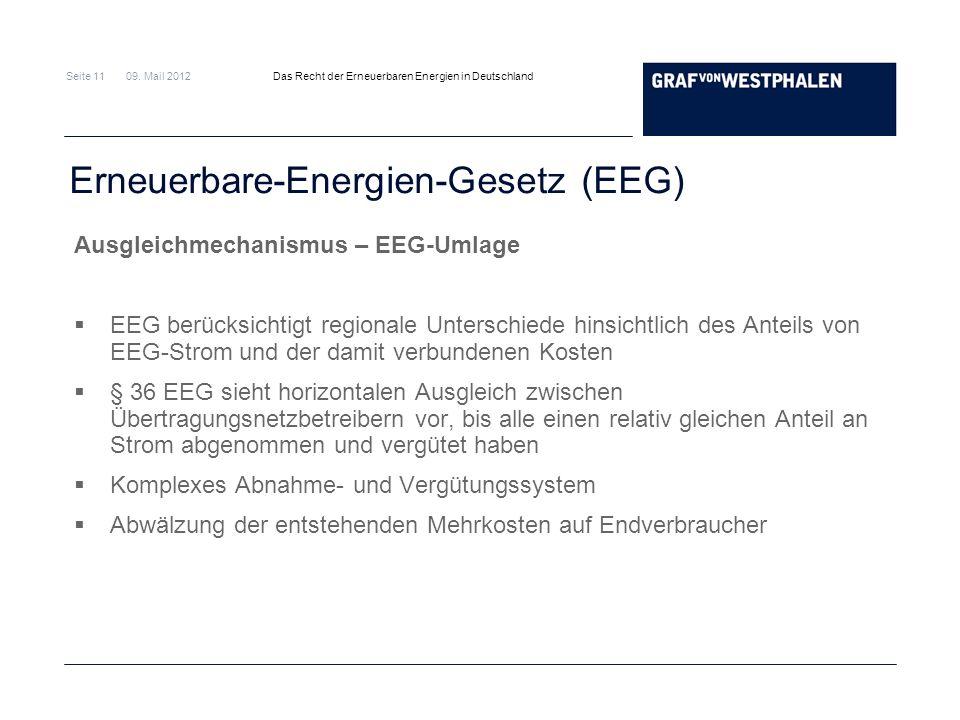 Seite 11 09. Mail 2012 Das Recht der Erneuerbaren Energien in Deutschland Erneuerbare-Energien-Gesetz (EEG) Ausgleichmechanismus – EEG-Umlage EEG berü