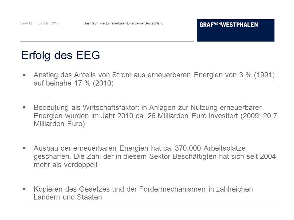Seite 12 09. Mail 2012 Das Recht der Erneuerbaren Energien in Deutschland Erfolg des EEG Anstieg des Anteils von Strom aus erneuerbaren Energien von 3