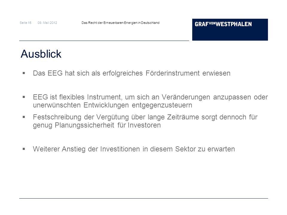 Seite 15 09. Mail 2012 Das Recht der Erneuerbaren Energien in Deutschland Ausblick Das EEG hat sich als erfolgreiches Förderinstrument erwiesen EEG is