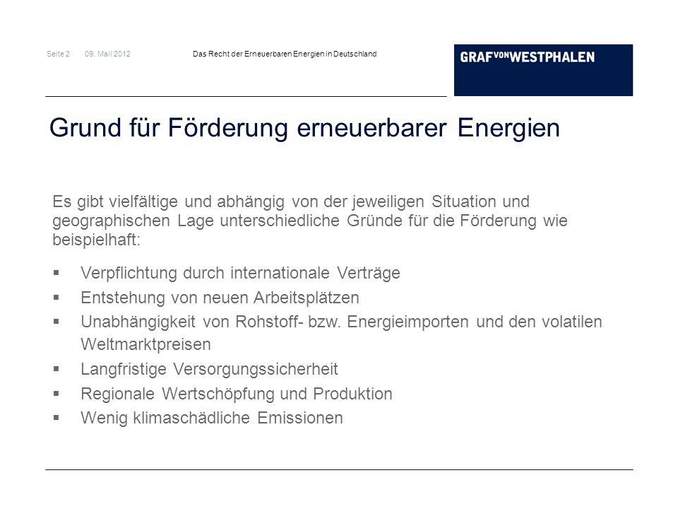 Seite 2 09. Mail 2012 Das Recht der Erneuerbaren Energien in Deutschland Grund für Förderung erneuerbarer Energien Es gibt vielfältige und abhängig vo