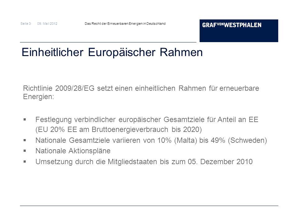 Seite 3 09. Mail 2012 Das Recht der Erneuerbaren Energien in Deutschland Einheitlicher Europäischer Rahmen Richtlinie 2009/28/EG setzt einen einheitli