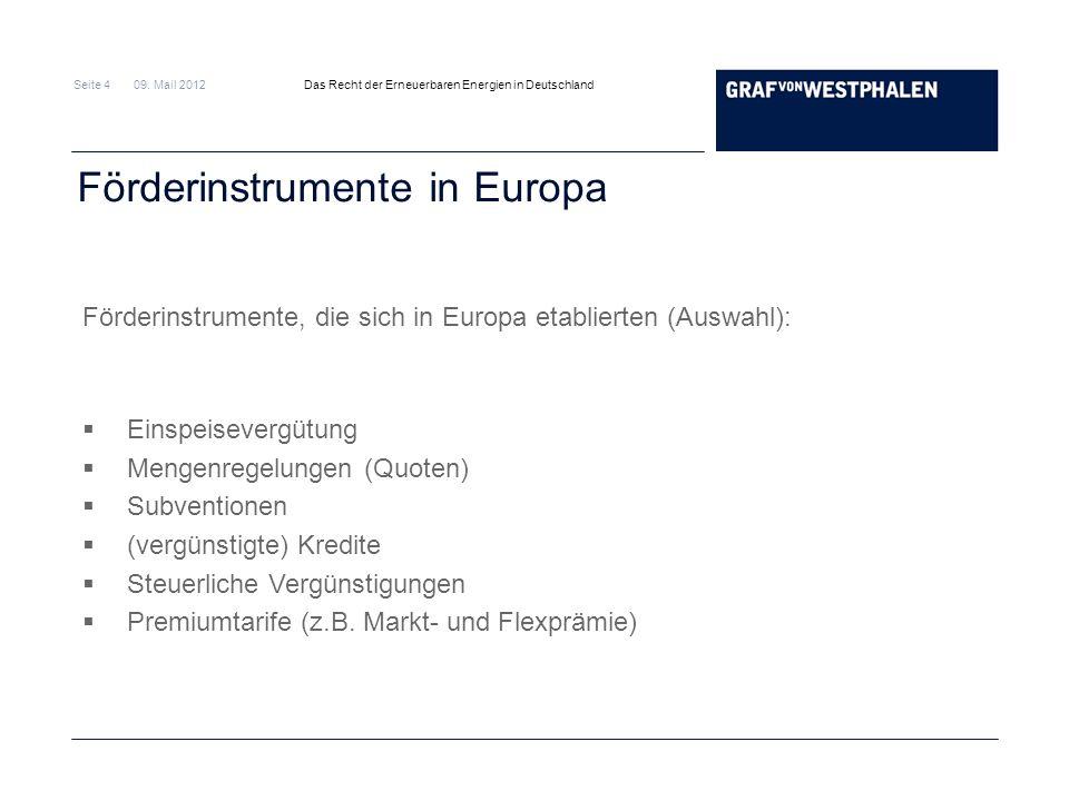 Seite 4 09. Mail 2012 Das Recht der Erneuerbaren Energien in Deutschland Förderinstrumente in Europa Förderinstrumente, die sich in Europa etablierten