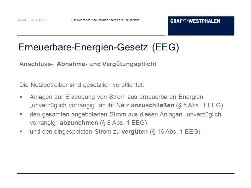 Seite 9 09. Mail 2012 Das Recht der Erneuerbaren Energien in Deutschland Erneuerbare-Energien-Gesetz (EEG) Anschluss-, Abnahme- und Vergütungspflicht