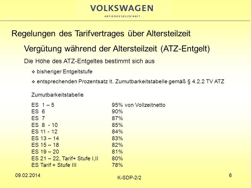 09.02.2014 K-SDP-2/2 6 Regelungen des Tarifvertrages über Altersteilzeit Vergütung während der Altersteilzeit (ATZ-Entgelt) Die Höhe des ATZ-Entgeltes bestimmt sich aus bisheriger Entgeltstufe entsprechenden Prozentsatz lt.
