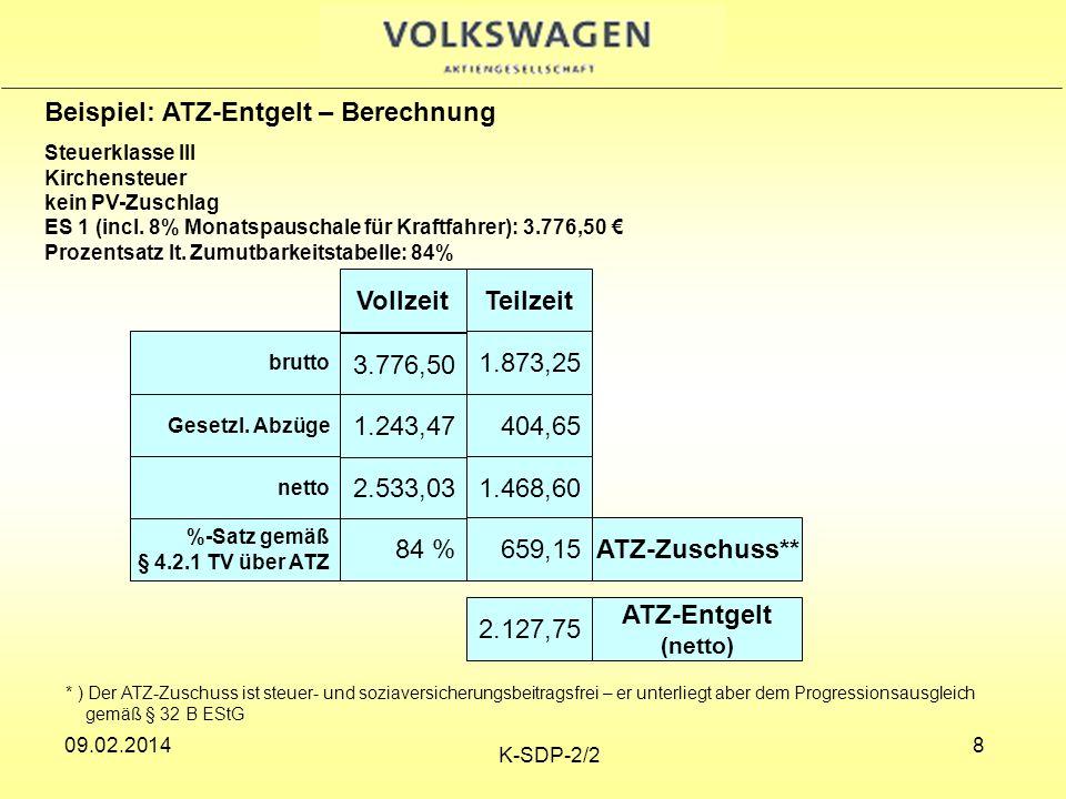 09.02.2014 K-SDP-2/2 19 Betriebliche Altersversorgung Berechnungsgrundlage Die Berechnung erfolgt aus dem durchschnittlichen Bruttoentgelt der letzten 12 Monate vor Beginn der ATZ.
