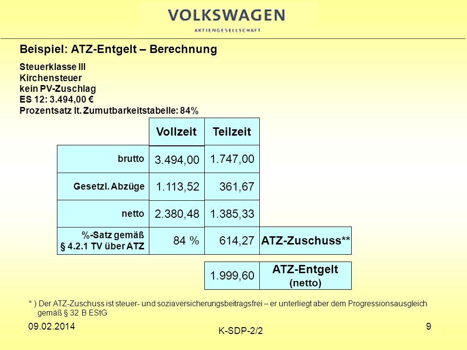 09.02.2014 K-SDP-2/2 20 Arbeitsjubiläum Jubiläumsgratifikation gemäß § 19 MTV Berechnungsgrundlage für die Gratifikation ist das ATZ-Entgelt (Teilzeitnetto plus ATZ-Aufstockungsbetrag).