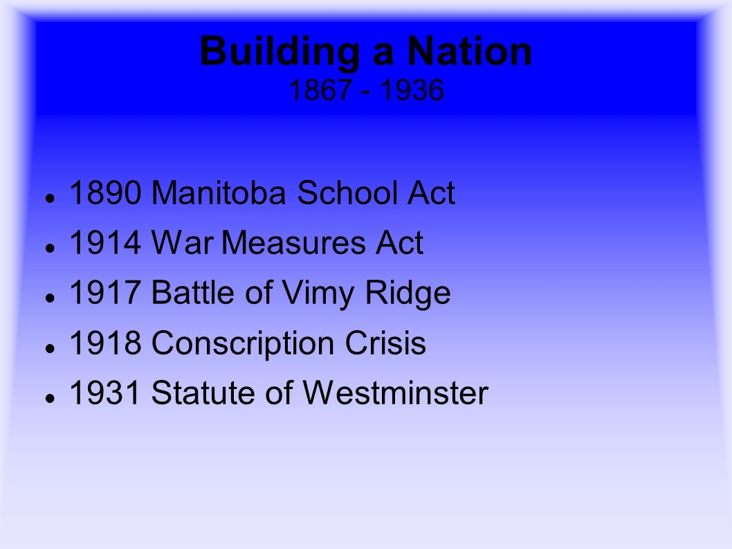 Building a Nation 1867 - 1936 1890 Manitoba School Act 1914 War Measures Act 1917 Battle of Vimy Ridge 1918 Conscription Crisis 1931 Statute of Westmi