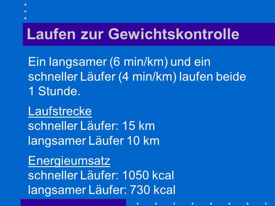 Ein langsamer (6 min/km) und ein schneller Läufer (4 min/km) laufen beide 1 Stunde. Laufstrecke schneller Läufer: 15 km langsamer Läufer 10 km Energie