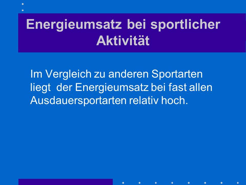 Energieumsatz bei sportlicher Aktivität Im Vergleich zu anderen Sportarten liegt der Energieumsatz bei fast allen Ausdauersportarten relativ hoch.