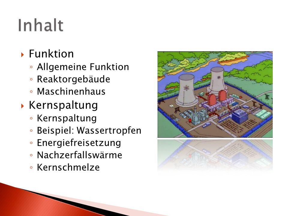 Funktion Allgemeine Funktion Reaktorgebäude Maschinenhaus Kernspaltung Beispiel: Wassertropfen Energiefreisetzung Nachzerfallswärme Kernschmelze
